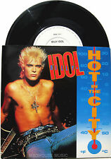 "Punk BILLY IDOL 7"" Hot In The City / Catch My Fall REMIX 1985 Gloss CARD Sleeve"