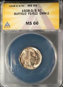 1938-D/S  Buffalo Nickel  ANACS  MS-66 == FS-512 OMM-2 == FREE SHIPPING!