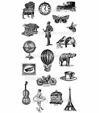 Tim Holtz Rubber Stamps - Little Things - Postage Stamp, Clock, Globe, Birds