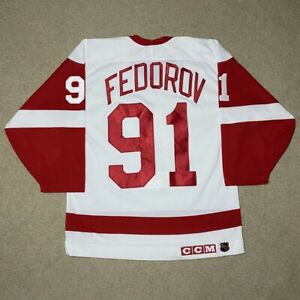 Vintage Sergei Fedorov Detroit Red Wings CCM Maska Center Ice Pro Hockey Jersey