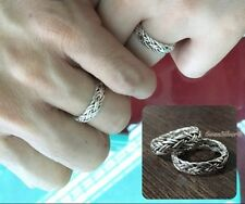 Bali Weave Wedding Promise Mens Women Sterling Silver 925 Couples Band Ring 5mm