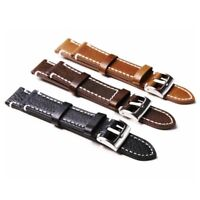 Genuine Leather Watch Band Replacement 18/19/20/21/22mm Wristwatch Strap Buckle