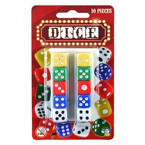 Brightly Coloured Small Plastic 1cm Dice 10 Pieces (1, 4 or 12)