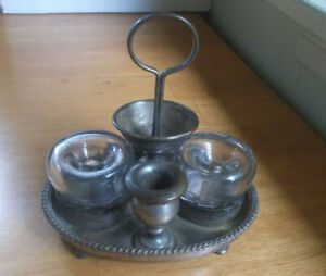 1880s SILVER PLATED DOUBLE INKWELL DESK STAND 2 BLOWN GLASS FUNNEL INKWELLS
