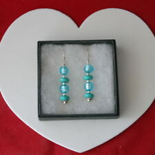 5.5 Gr. 3.5 Cm. Long +Hooks I Beautiful Earrings With Turquoise And Murano Glass