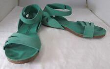 Pedro Garcia Womens Aqua Green Suede Ankle Strap Flat Sandals SZ 12 NWOB