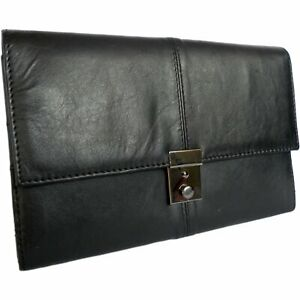 Leather TRAVEL Document WALLET ORGANISER with lock for Passport
