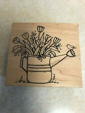 Great Impressions, Watering Can With Tulips, All Occasion Rubber Stamp,Euc
