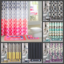 18PC PRINTED BATHROOM SET BATH MATS SHOWER CURTAIN HOOKS W/MATCHING MATS