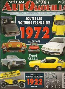 AUTOMOBILIA 76 S LES VOITURES FRANCAISES 1972 (SALON 1971) et 1922 (SALON 1921)