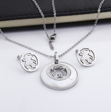 Stainless steel Shell zircon inlay Animal Bear Necklace Earrings set