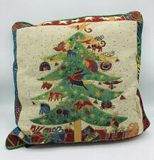 """Laurel Birch Tapestry Christmas Pillow Holiday Christmas Tree Cats 17"""" x 17"""""""