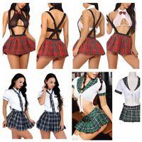 Sexy Womens Lingerie School Girl Cosplay Costume Fancy Uniform Tops Skirts Dress