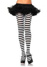 leg avenue nylon costume tights stockings hosiery black White striped 7100