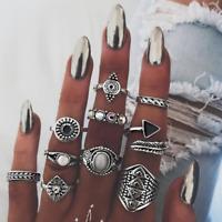 Fashion 10pcs/set Women Gold/Silver Knuckle Ring Finger Rings Midi Boho Jewelry