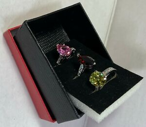 QVC SET OF 3 RINGS SIZE:8 FANCY BRILLIANT CUT SIMULATED STONES BRAND NEW