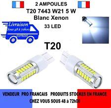 2 Ampoules 33 LED SMD T20 7443 W21 5W Blanc Xénon Feux Jour Recul Brouillard
