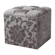 *NEW Jennifer Taylor Modern Gray Tufted Velvet Nailhead Trim Storage Ottoman