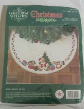 "BUCILLA Gallery of Stitches TEDDY BEAR Christmas Tree Skirt 36"" Diameter"