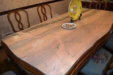Antique Pink Marble wood inlay dining table