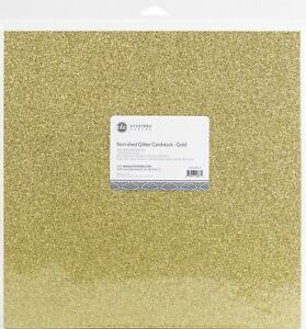 """ETC Papers Non-Shed Glitter Cardstock 12""""X12"""" 10/Pkg-Gold"""