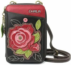 Chala Wallet Crossbody Bag, Rose on Black (850RSB6)