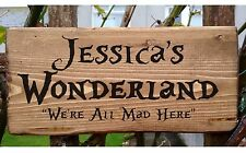 Alice in Wonderland Personalised Door Name Sign Plaque Plate We're All Mad Gift