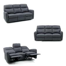 Divano kube 3 posti relax recliner in tessuto blu jeans salone salotto casa