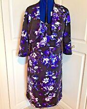 Nightingales black floral print lined dress & matching bolero jacket size 16