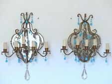 "23"" HUGE Antique 1920 Mirror Italian Pair Sconces Aqua Opaline Drops Chandelier"