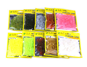 50pcs/pack Small Soft Plastic Grubs Bait Fish Lure Worm Swimbait Paddle Tail
