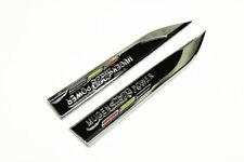 2Pcs Auto Metal Black MUGEN Car Fender Skirts Knife Side Sticker Emblems Badge