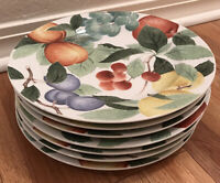 "Set of 7 Studio Nova ""Orchard Jewels"" Fruit Pattern Dinner Plates 10 1/2"""