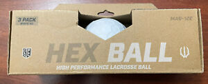 Lacrosse WOLF ATHLETICS Hex Ball High Performance Lacrosse Ball 3 Pack NEW White