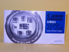 Original(!) Canon INTERCHANGEABLE LENSES FL INSTRUCTION - in English
