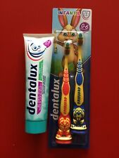 Dentalux Toothpaste (chewing gum) 100ml + two toothbrushes 0-6 years