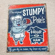 "Stumpy Pete's 12"" x 16"" Metal Pig Ham Man Cave BBQ Grill Home Decor Restaurant"