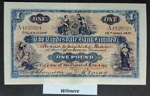Clydesdale Bank £1 (P189a) A prefix 1931  *gEF*