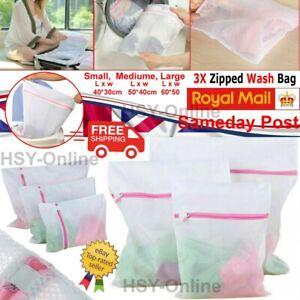3x Zipped Laundry Washing Mesh Net Clothes Bra Sox Underwear Machine Wash Bags