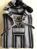 NEW Original Senor Lopez Woven Mexican Baja Hoodie Poncho Pullover Sweater XXL