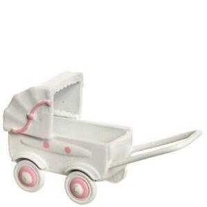 DOLLHOUSE Doll Carriage Toy Falcon N1856 Pram White w Pink Miniature
