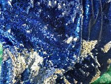 Mermaid flip up Fish Scale Sequin Fabric Reversible color silver/royal blue