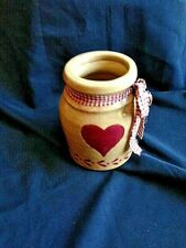 """CROCK 6"""" BROWN RED TRIM RED HOME SPUN BOW KITCHEN DECOR COUNTRY RUSTIC"""