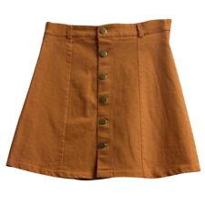 Womens A-line Jeans Front Button High Waist Denim Dress Slim Casual Skirt S-L BJ