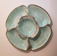 Aqua Blue Mid-Century Modern 3-Piece Chip and Dip Set by California Pottery USA