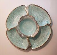 Aqua Blue Mid-Century Modern 3-Piece Chip and Dip Set by California Pottery USA