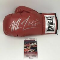 Autographed/Signed MIKE TYSON & EVANDER HOLYFIELD Red Boxing Glove JSA COA Auto