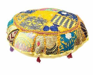 Bohemian Patch Work Traditional Vintage Ottoman Cover Indian