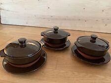 More details for 3 vintage brown royal barum ware pottery lidded casserole pot/ dish & saucers