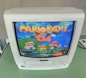 "Panasonic PV-M1359W 13"" TV-VCR/VHS Combo White Retro Gaming Television"